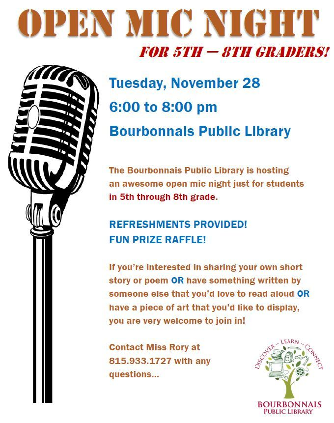 OPEN MIC NIGHT AT LIBRARY