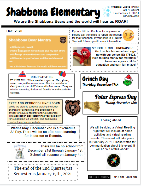 Shabbona Elementary  December 2020 Newsletter